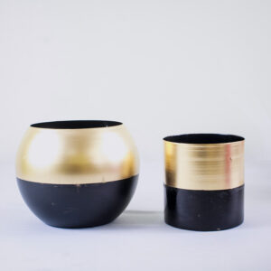 Golden Round 12cm Metal Pot/Planter