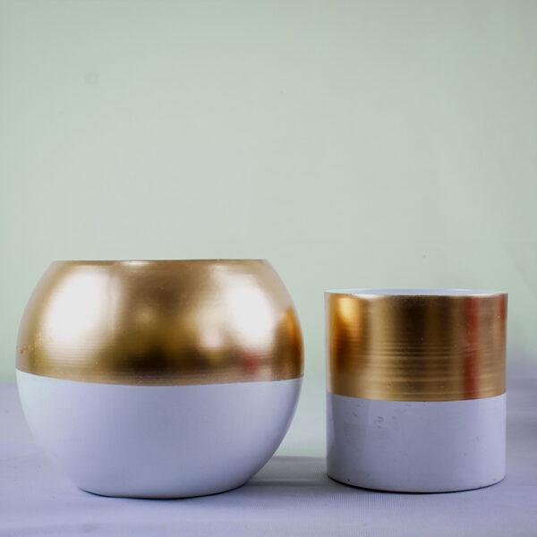 Golden Round 12cm Metal Pot/Planter